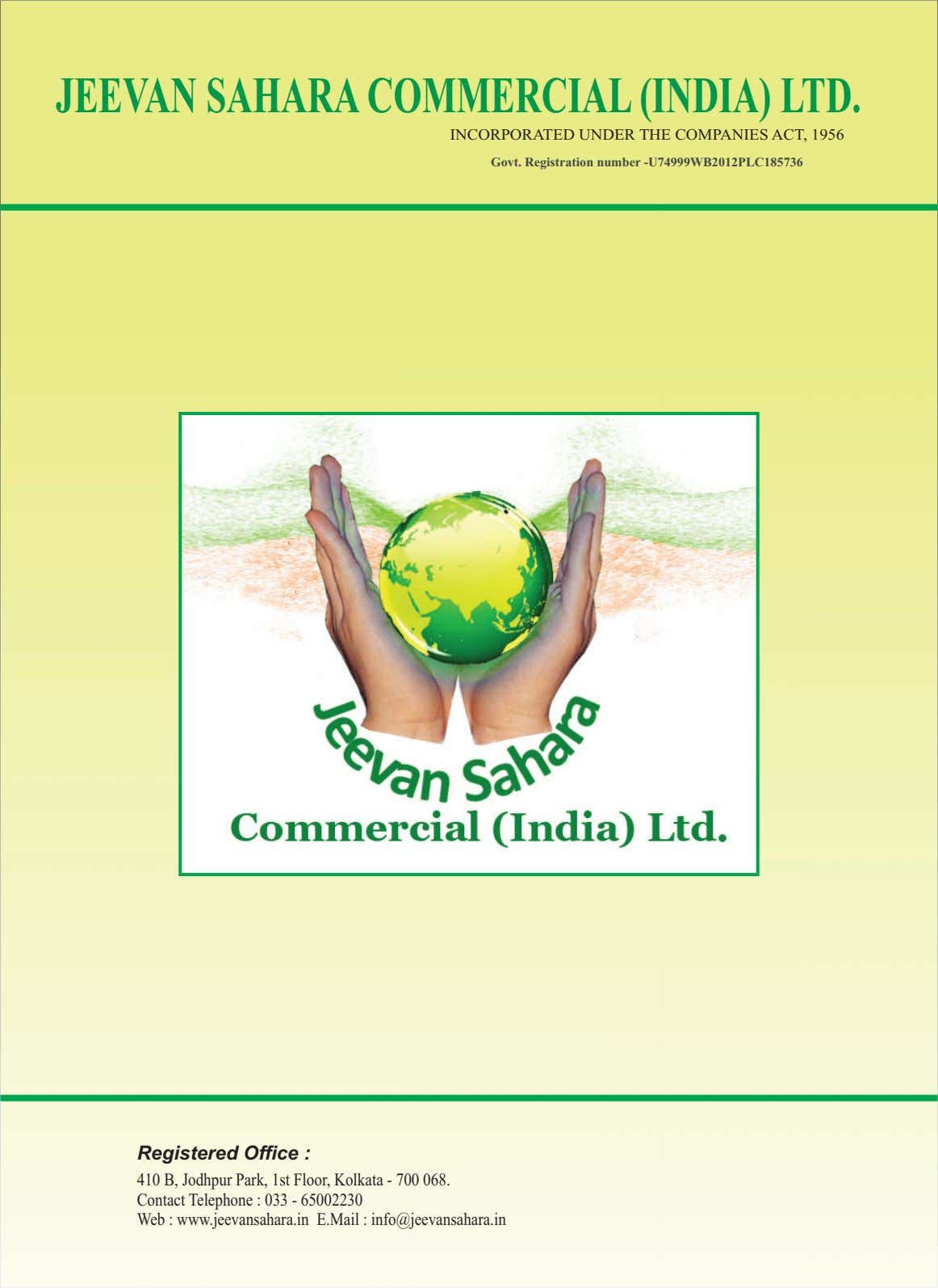 JEEVANSAHARACOMMERCIAL(INDIA) LTD. INCORPORATED UNDER THE COMPANIES ACT, 1956 Govt. Registration number