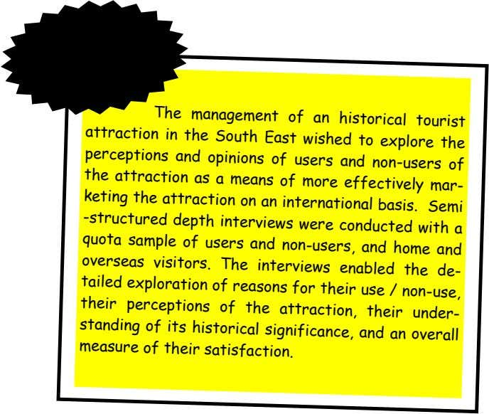 Example The management of an historical tourist attraction to explore the in the South East