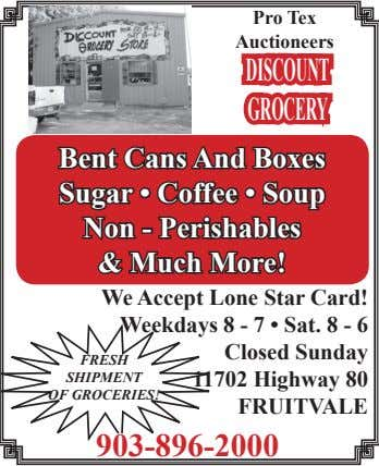 Pro Tex Auctioneers DISCOUNT GROCERY Bent Cans And Boxes Sugar • Coffee • Soup Non