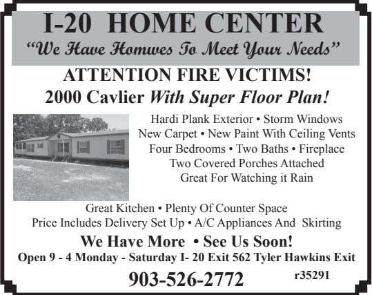 "I-20 HOME CENTER ""We Have Homwes To Meet Your Needs"" ATTENTION FIRE VICTIMS! 2000 Cavlier"