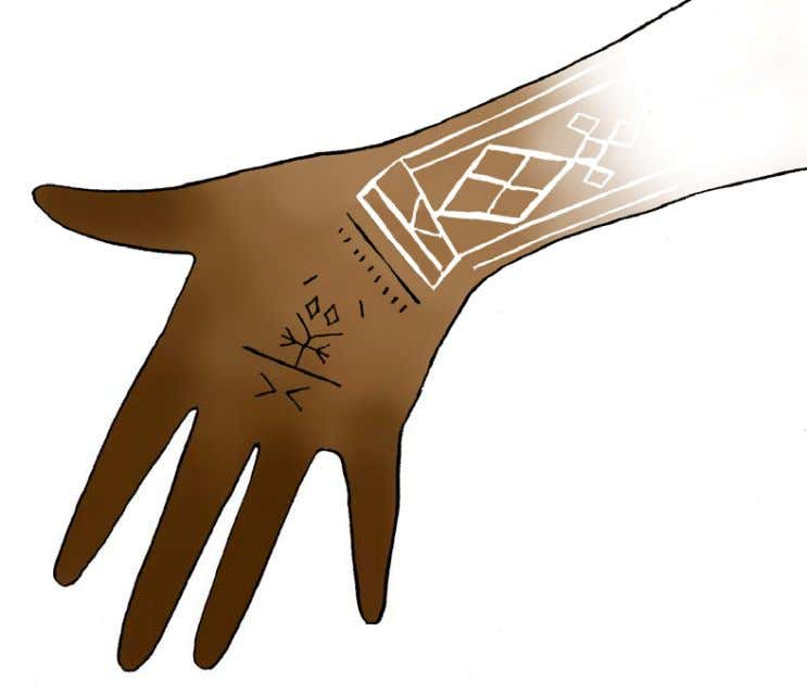 on the backs of her hands, diagrammed in Figure 38. Figure 38: Diagram of reverse henna
