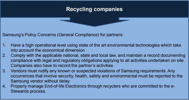 Recycling companies Samsung's Policy Concerns (General Compliance) for partners: 1. Have a high operational level