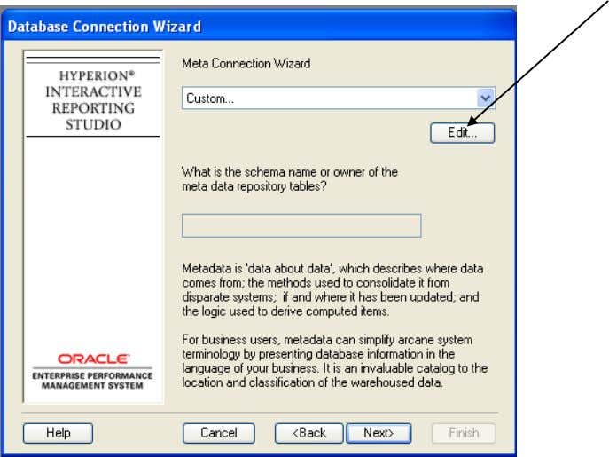 "On this ""Meta Connection Wizard"" screen selectEdit State Controller""s Division Statewide Accounting and"