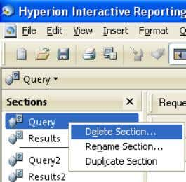 3 Hyperion Queries Right-click on the Section you want to rename Right-click on the Section you