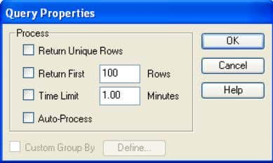 Options or Double-click  Request on the Request Line Return Unique Rows  Eliminates duplicate rows