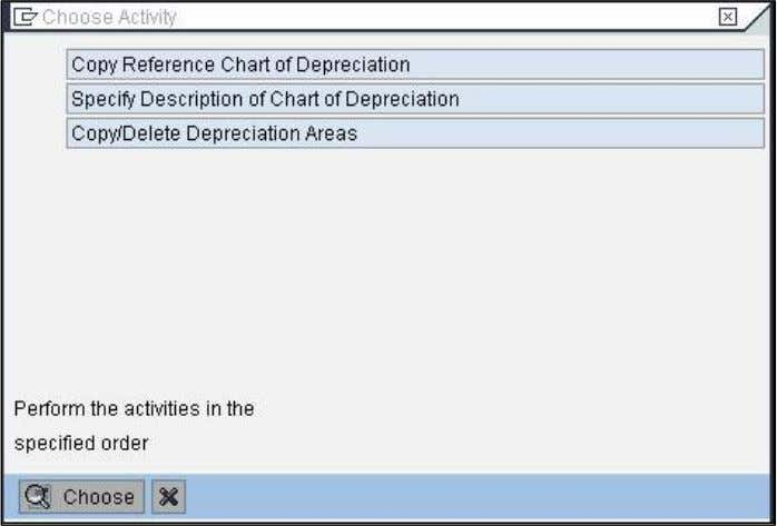 using an SAP standard chart of depreciation as a reference. 2) Enter the name of your
