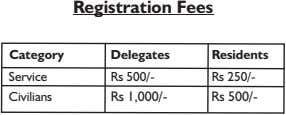 Registration Fees Category Delegates Residents Service Rs 500/- Rs 250/- Civilians Rs 1,000/- Rs 500/-