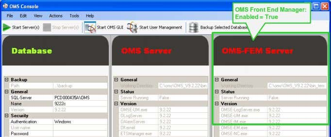 OMS Front End Manager: Enabled = True