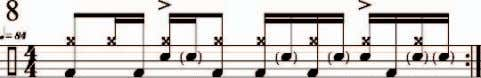 a pullout. Play the accented snare drum notes as rimshots. CLYDE'S THING I first heard this