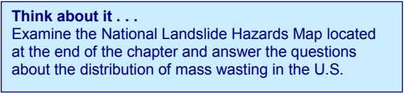 Think about it . . . Examine the National Landslide Hazards Map located at the end