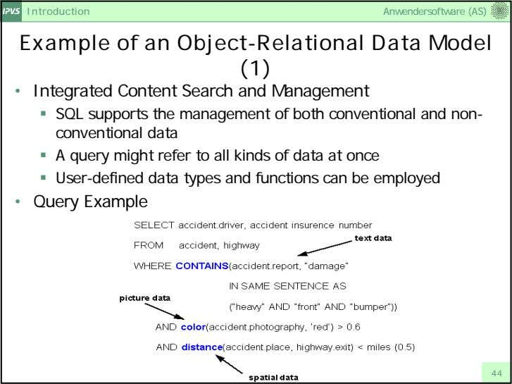 Introduction Anwendersoftware (AS) Example of an Object-Relational Data Model (1) • Integrated Content Search and