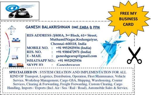 FREE MY BUSINESS CARD GANESH BALAKRISHNAN DME,EMBA & PPM RES ADDRESS :3/400A, 3 rd Block, 61