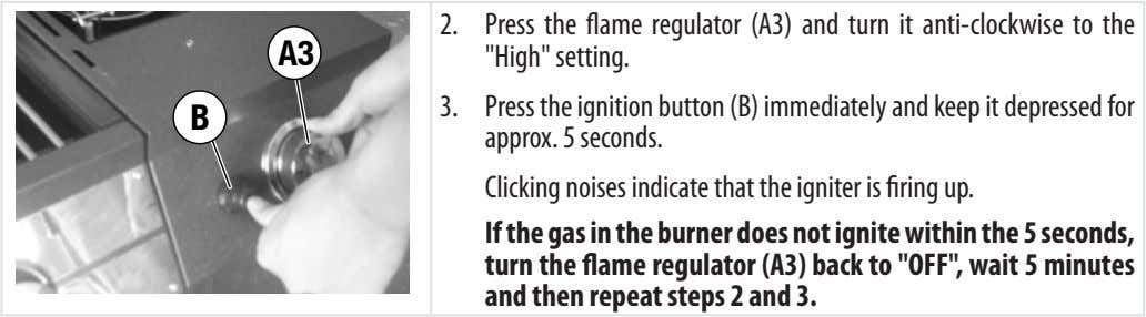 "A3 2. Press the flame regulator (A3) and turn it anti-clockwise to the ""High"" setting."