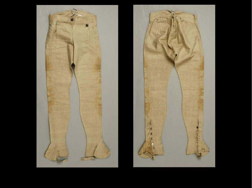 "or wool breeches, or linen trousers (civilian, no gaiters). ""Trousers"" (military overalls), circa 1793, European,"