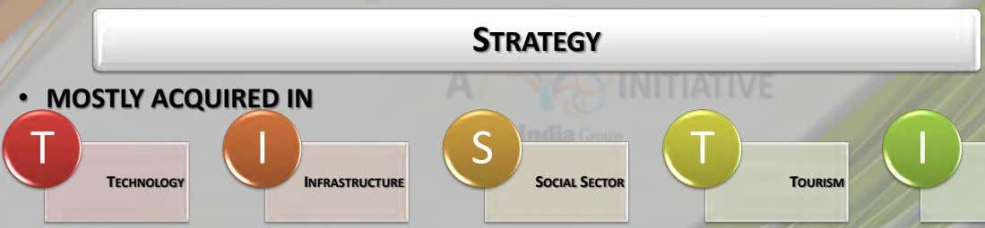 STRATEGY • MOSTLY ACQUIRED IN T I S T I TECHNOLOGY INFRASTRUCTURE SOCIAL SECTOR TOURISM