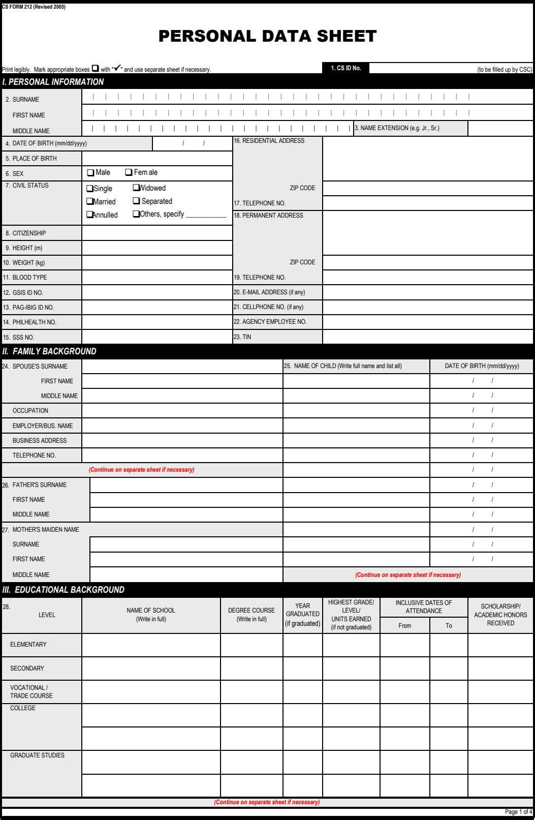 CS FORM 212 (Revised 2005) PERSONAL DATA SHEET Print legibly. Mark appropriate boxes q with
