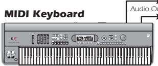 MIDI Keyboard REAL TIME CONTROLLERS ASSIGNABLE KEYS PRESET LEVEL EXIT ENTER SAMPLE PAGE SEQUENCER PRESET