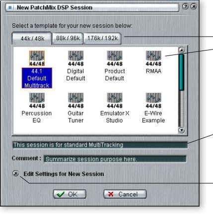 PatchMix DSP main Toolbar. The following dialog box appears. Select a Template or new Session at