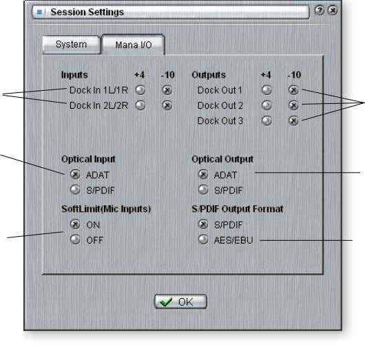 Level Settings Optical Input Select Mic Soft Limiting On/Off Output Level Settings Optical Output Select S/PDIF