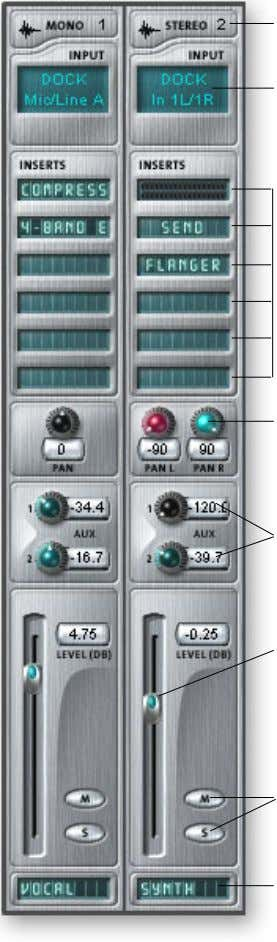 Volume Control Controls the output level of the channel. Mono/Stereo Input Type Insert Section Pan Controls