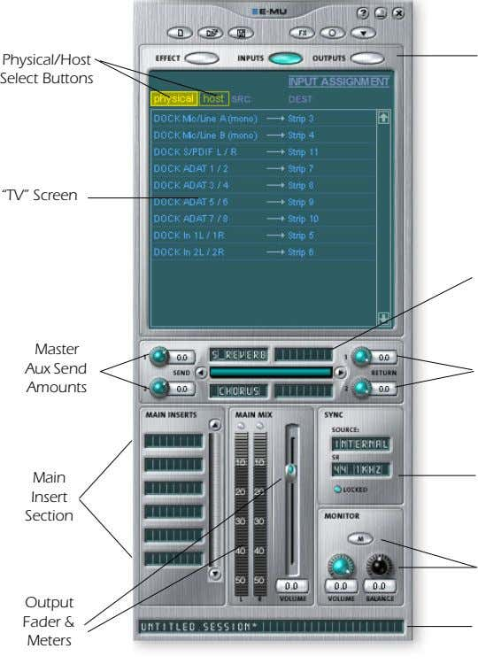 "Physical/Host Select Buttons ""TV"" Screen Master Aux Send Amounts Main Insert Section Output Fader &"