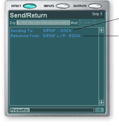 the display are available for Send/Return type inserts only. Send Destination Return Source E-MU 1616/1616M CardBus