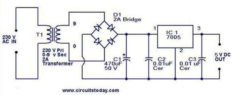 schematic is given below. Circuit diagram with Parts list. Notes. The bridge D1 can be also