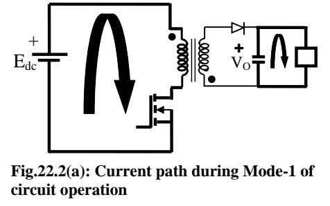 + E V dc O Fig.22.2(a): Current path during Mode-1 of circuit operation
