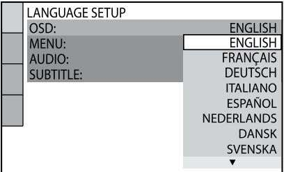 "a disc. ""LANGUAGE SETUP"" appears on the TV screen. 5 Press  or   repeatedly"