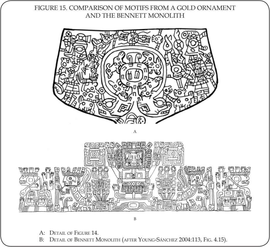 FIGURE 15. COMPARISON OF MOTIFS FROM A GOLD ORNAMENT AND THE BENNETT MONOLITH A B