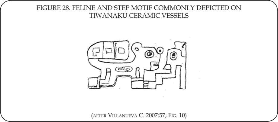 FIGURE 28. FELINE AND STEP MOTIF COMMONLY DEPICTED ON TIWANAKU CERAMIC VESSELS (AFTER VILLANUEVA C.