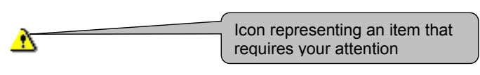 Icon representing an item that requires your attention