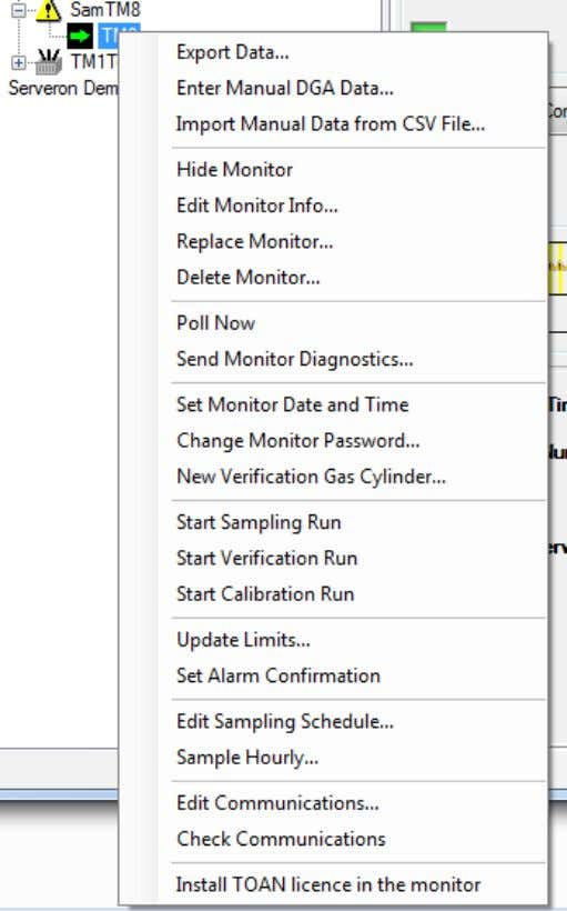 TM View Reference Figure 16 - Monitor Context Menu The context menu for a TM1 monitor