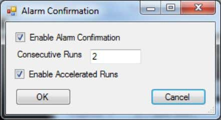 runs with a value above the limit before raising the alarm. Figure 19 - Alarm Confirmation