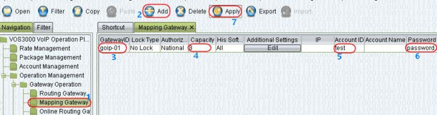 is for call termination only (outgoing calls). In order Here are the parameters for Mapping Gateway:
