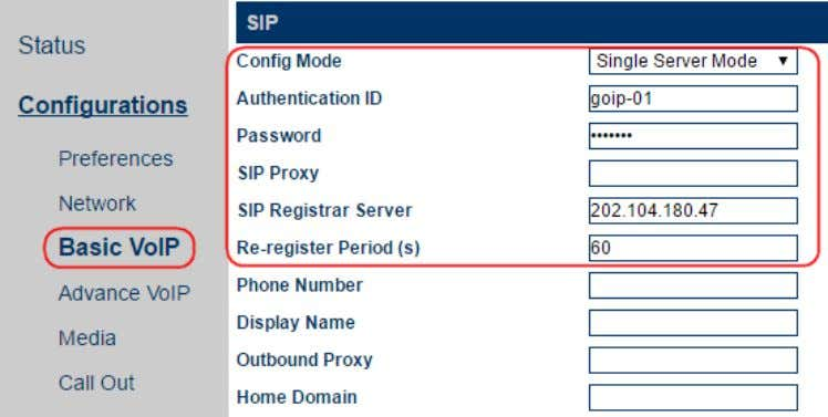 "webpage 2. Go direct to the Basic VoIP page as shown below. 3. Select ""Single Server"