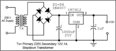 should be greater than 12 volt in pin -1 of IC LM 7808. Fig. 2: Block