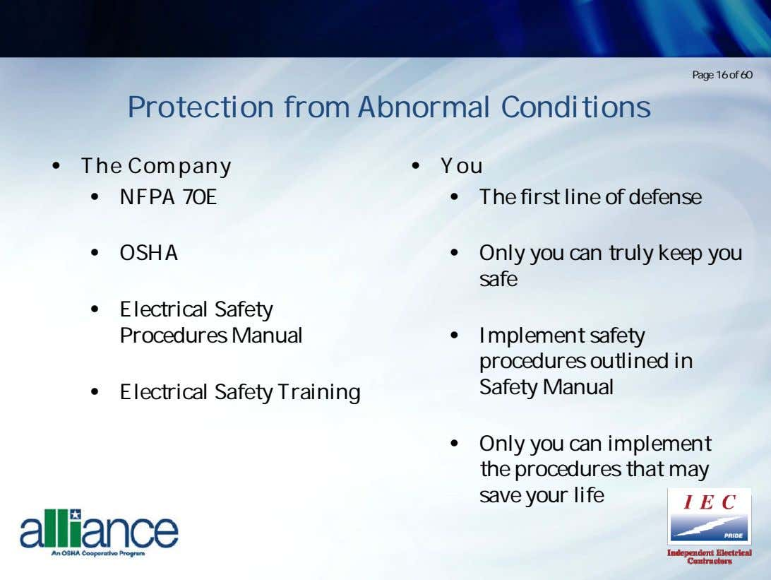 Page 16 of 60 Protection from Abnormal Conditions • The Company • Y ou •