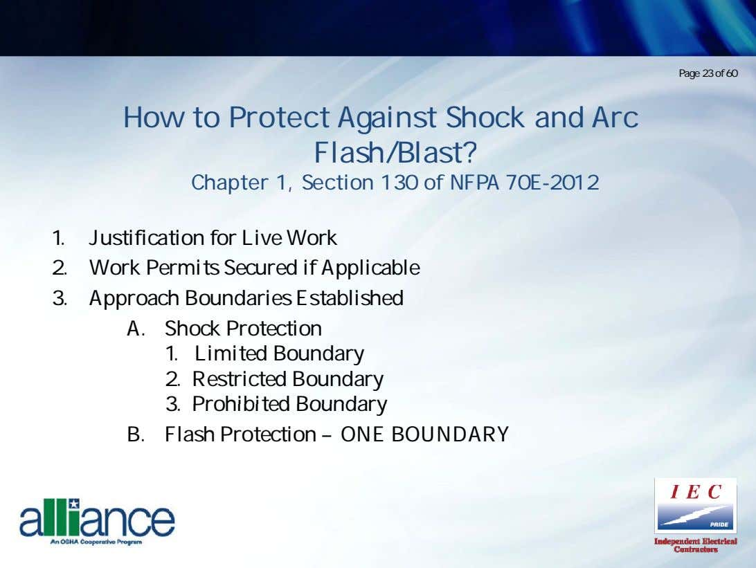 Page 23 of 60 How to Protect Against Shock and Arc Flash/Blast? Chapter 1, Section