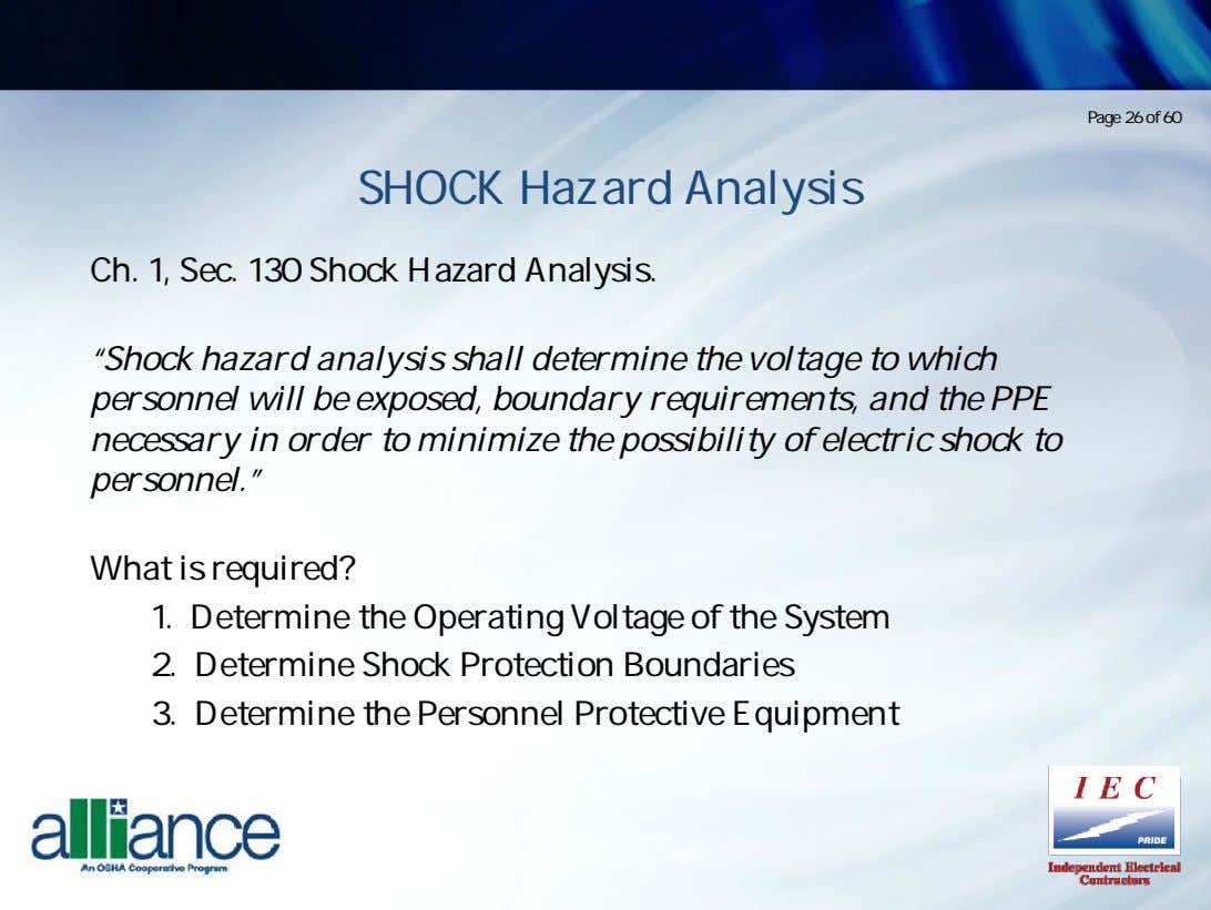 "Page 26 of 60 SHOCK Hazard Analysis Ch. 1, Sec. 130 Shock Hazard Analysis. ""Shock"