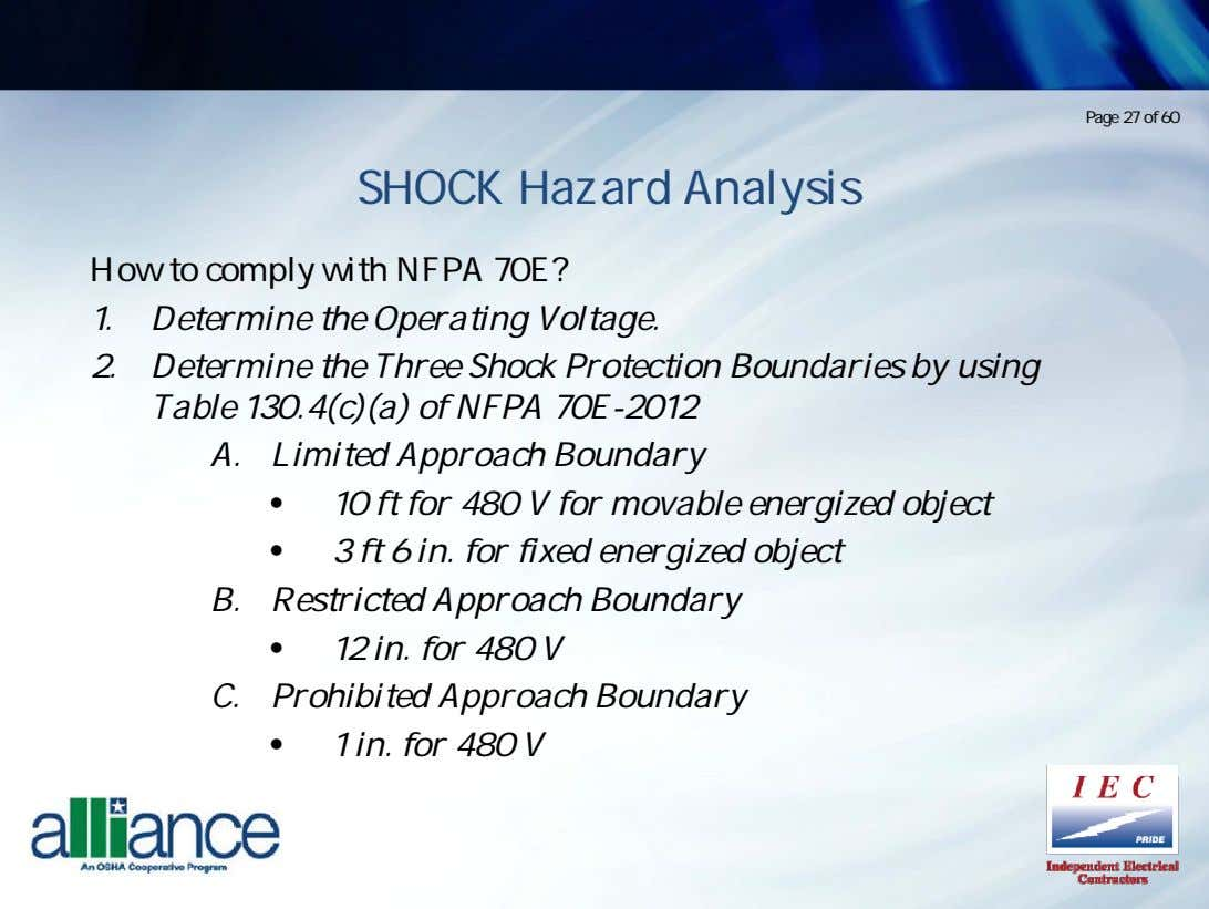 Page 27 of 60 SHOCK Hazard Analysis How to comply with NFPA 70E? 1. Determine