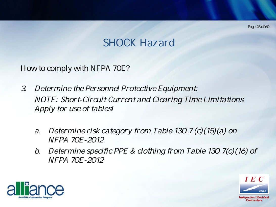Page 28 of 60 SHOCK Hazard How to comply with NFPA 70E? 3. Determine the