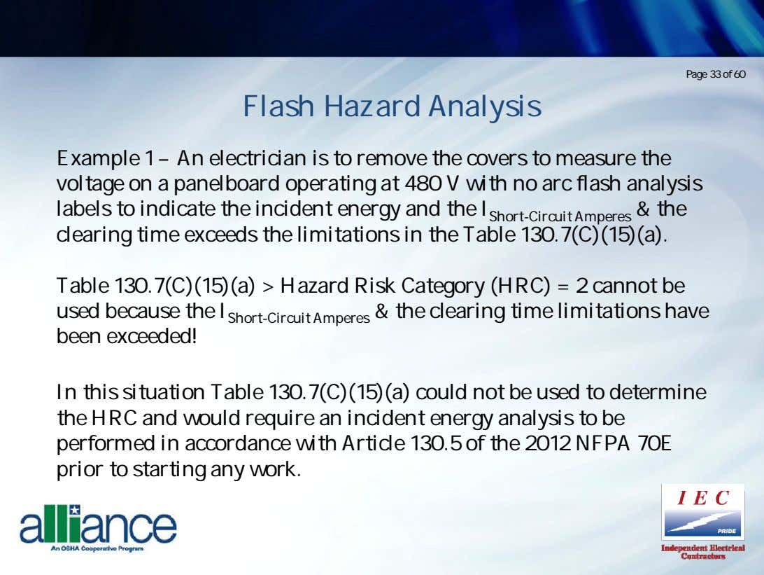 Page 33 of 60 Flash Hazard Analysis Example 1 – An electrician is to remove
