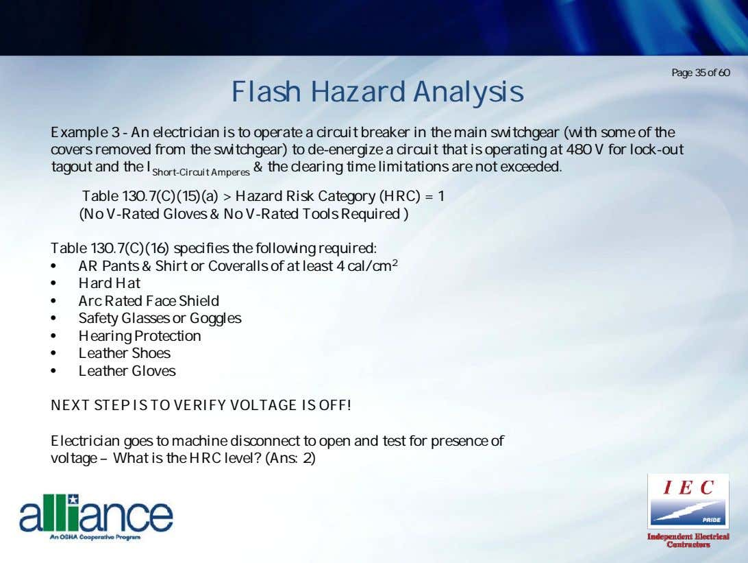 Page 35 of 60 Flash Hazard Analysis Example 3 - An electrician is to operate