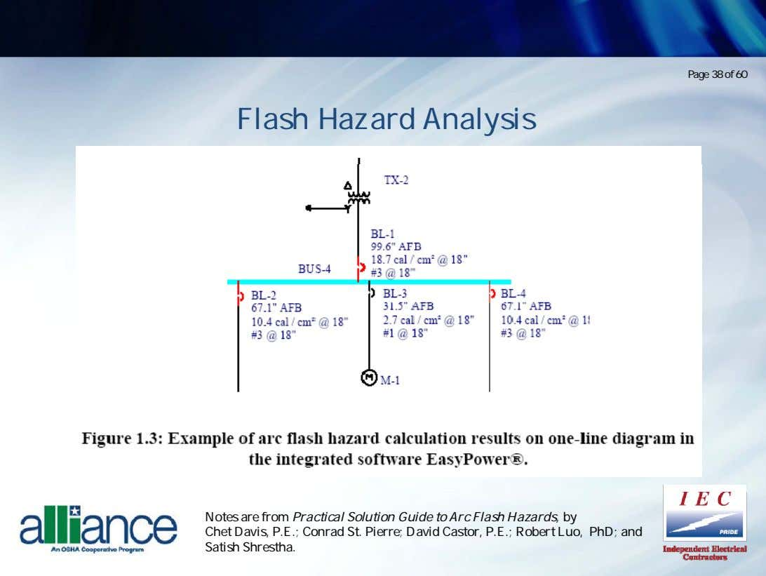 Page 38 of 60 Flash Hazard Analysis Notes are from Practical Solution Guide to Arc
