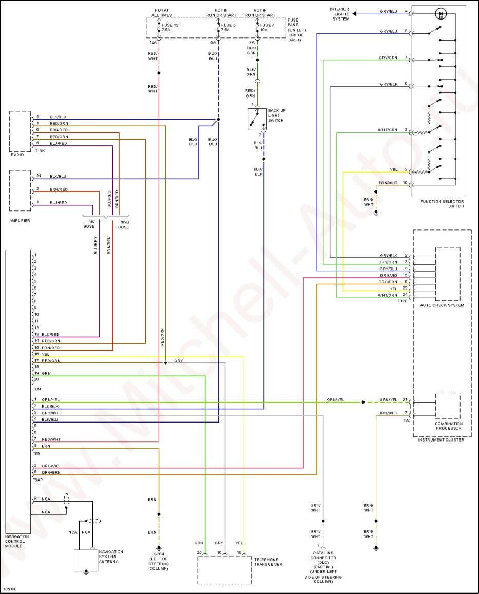 2001 Audi TT SYSTEM WIRING DIAGRAMS Audi - TT Fig. 33: Navigation Circuit POWER DISTRIBUTION www.Mitchell-Auto.ru