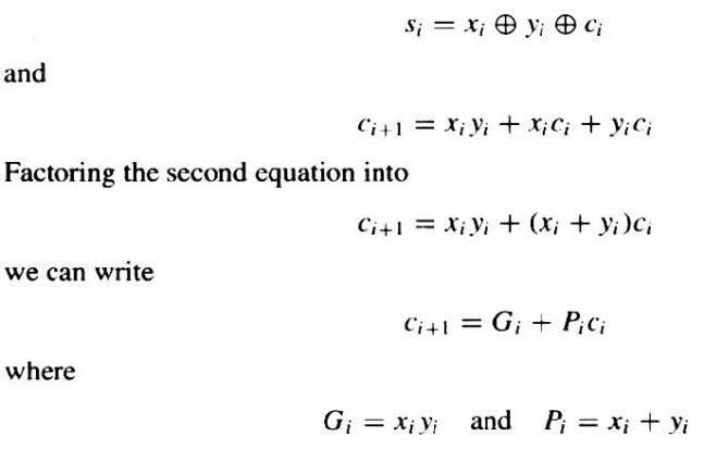 The above expressions G i and P i are called carry generate and propagate functions