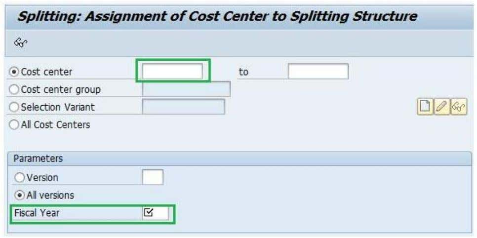 Activity Based Costing in SAP Specify Cost center and Fiscal year Double click on splitting structure