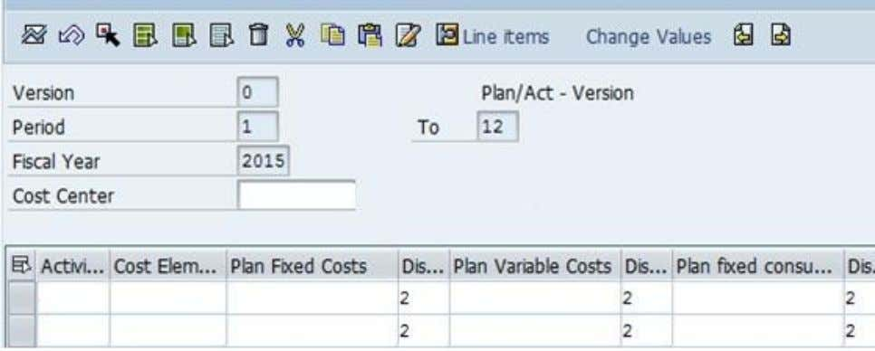 of planning at cost element for activity at cost center. c. Allocation of expenses or activities: