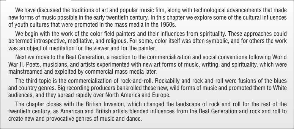We have discussed the traditions of art and popular music film, along with technological advancements